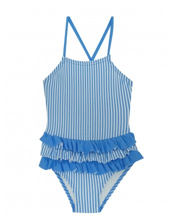 Bañador Niña-Blue Stripes-Rayas Azul-Waterlemon