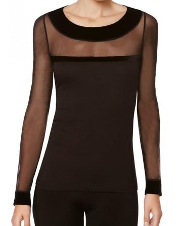 Camiseta-M/L -Tul-Velvetta-Modal-Janira-mujer-negra-transparente-manga-larga